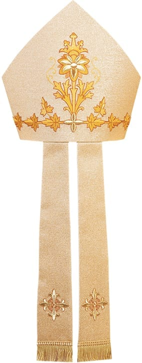 """""""Jericho"""" Maranatha Lab miter in lamé fabric decorated with classic gold embroidery on the headdress and on the infule."""