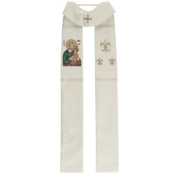 """Stole """"San-Giuseppe"""" Maranatha Lab made of mixed wool-silk fabric decorated with the effigy of St. Joseph"""