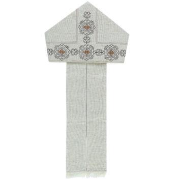 """Gennaro"" Maranatha Lab miter in hemp and linen embellished with hand-embroidered Assisi stitch motifs."