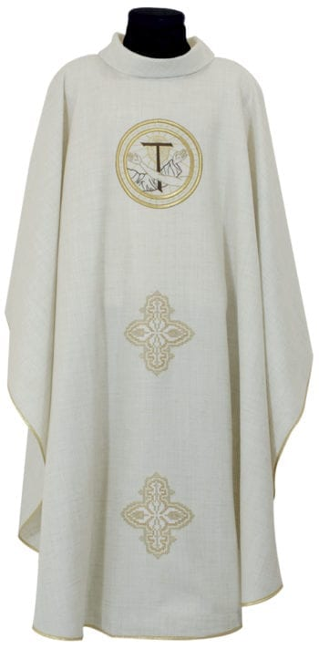 """Casula """"Eremo-Carceri"""" Maranatha Lab in lino arricchita con ricamo diretto di simbolo francescano e croci."""