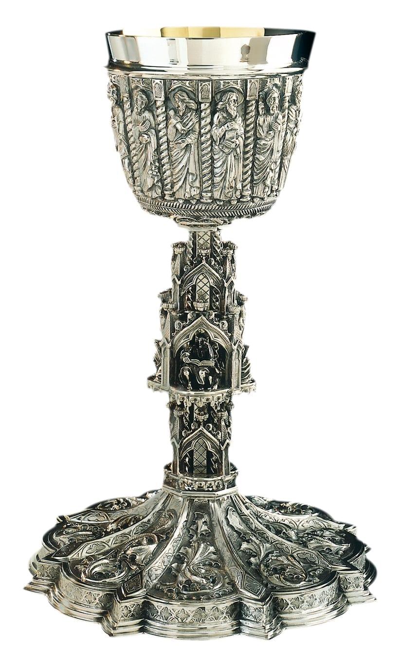 calice gotico con bassorillievo a mano dei 12 apostoli in argento massiccio 925