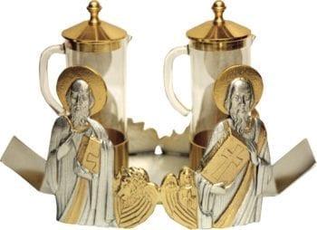 """Ampolline """"Evangelisti"""" Maranatha Lab con base bicolore con manici, decorata con effigie dei quattro evangelisti"""