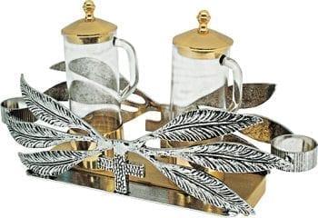 """Ampolline """"Foglie"""" Maranatha Lab con riporti in bronzo e vassoio rettangolare decorato con applicazioni a foglie"""