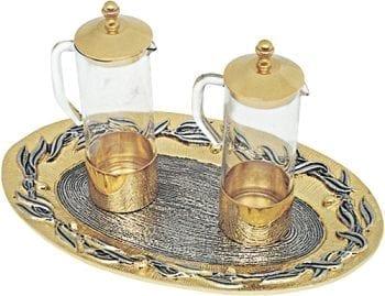 """Ampolline """"Ulivo"""" Maranatha Lab con riporti in bronzo dorato e vassoio di forma ovale con decorazioni a foglia"""