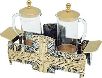 """Ampolline """"Siloe"""" Maranatha Lab in vetro con riporti e tappi in fusione di bronzo dorato e base cruciforme"""