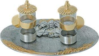"""Ampolline """"Emmaus"""" Maranatha Lab in fusione di bronzo con decoro di spighe ed effigie dei discepoli di Emmaus"""