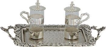 """Ampolline """"Nobile-Semplicità"""" Maranatha Lab in vetro con base in ottone cesellato e vassoio con manici"""