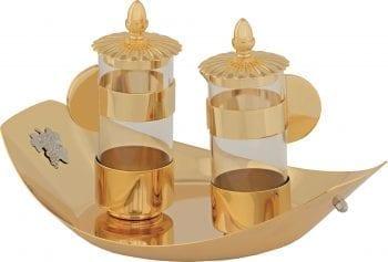 """Ampolline """"Barca"""" Maranatha Lab con riporti in ottone dorato e vassoio con delicate applicazioni in ottone argentato"""