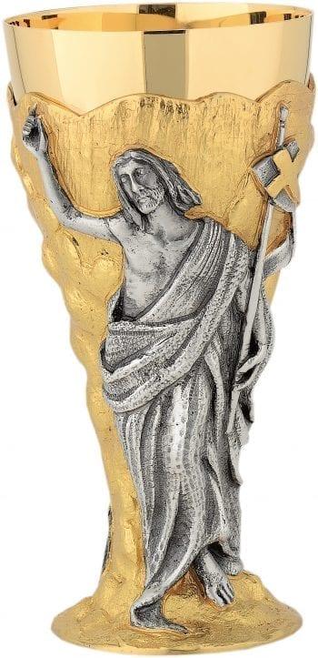 """Calice """"Resurrezione"""" Maranatha Lab in fusione di ottone bicolore impreziosito con rilievo del Cristo Risorto"""