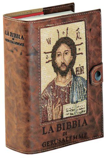 """Copri bibbia """"Pantocratore"""" in pelle con inserto in tessuto lavorato a telaio con effigie del Pantocratore"""