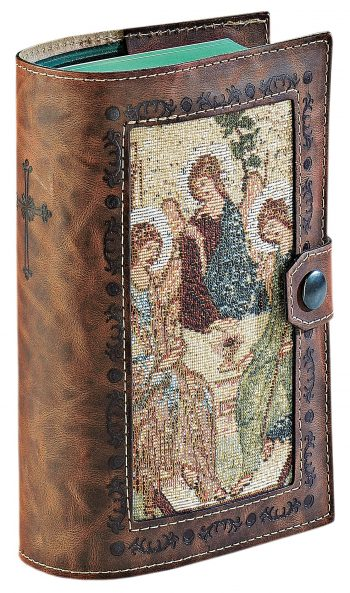"""Copri breviario """"Madonna Kiko"""" realizzato in pelle liscia con inserto in tessuto a telaio con effigie mariana"""