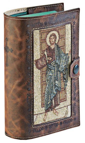 """Copri breviario """"Cristo"""" realizzato in pelle incisa con inserto in tessuto lavorato a telaio con effigie del Cristo"""