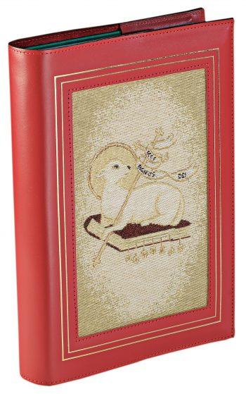 """Coprilezionario """"Agnello"""" in pelle con inserto in tessuto lavorato a telaio raffigurante il simbolo dell'agnello"""