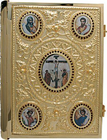 """Coprilezionario """"Evangelisti"""" Maranatha Lab in ottone cesellato con effigie degli evangelisti e Resurrezione"""