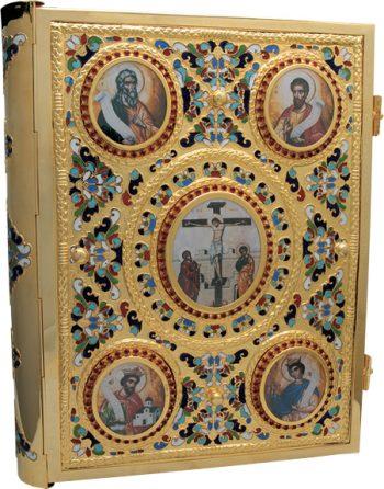 """Coprilezionario """"Marco"""" Maranatha Lab in ottonecesellato con effigie degli evangelisti smaltati e Crocifissione"""