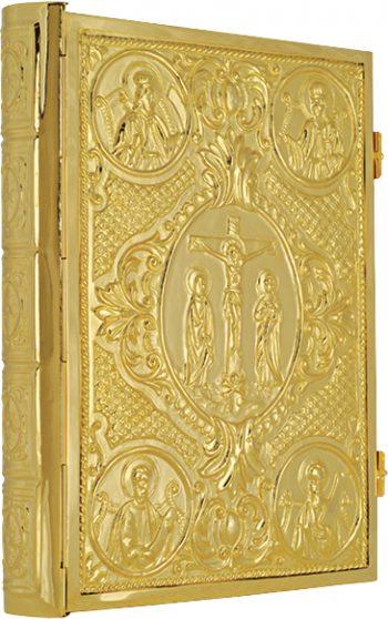 """Coprilezionario """"Matteo"""" Maranatha Lab in ottone dorato interamente cesellato con evangelisti e Crocifissione"""