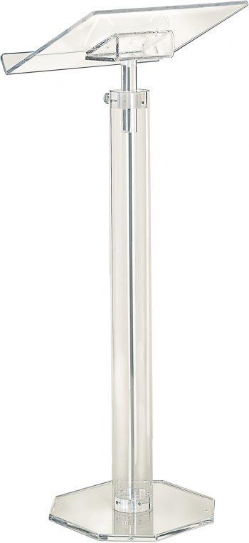 Classic plexiglass stem lectern entirely ultra-transparent octagonal and circular section stem