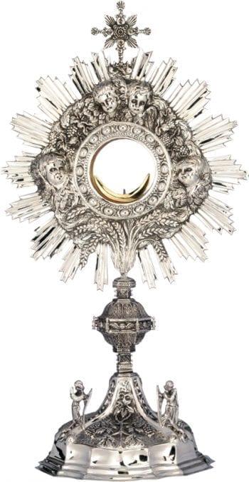 """Ostensorio """"Sanctus"""" Maranatha Lab stile barocco in argento cesellato a mano e statue angeliche"""