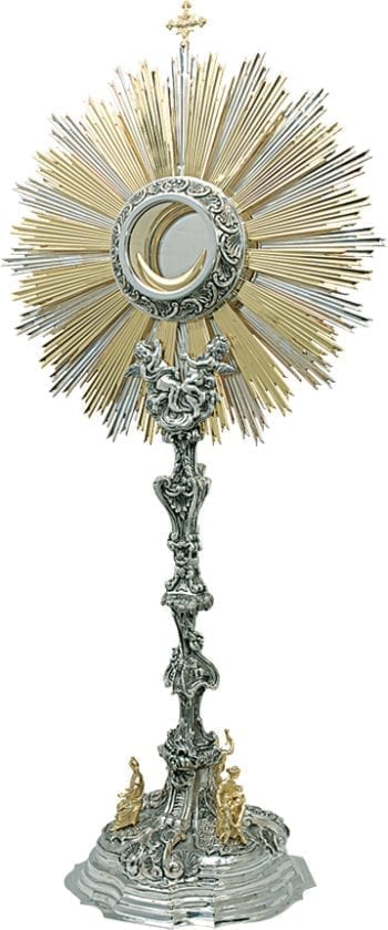 """Ostensorio """"Velo-del-Tempio"""" Maranatha Lab barocco in argento bicolore cesellato a mano"""