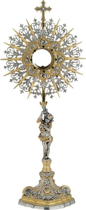 """Ostensorio """"Angeli"""" Maranatha Lab stile barocco con scultura angelica e cristalli bicolore incastonati"""