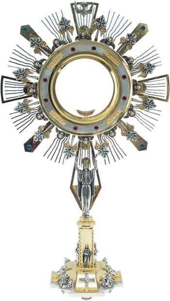 """Ostensorio """"Il-Risorto2"""" Maranatha Lab per Ostia Magna in ottone bicolore con teca sorretta dal Cristo Risorto"""