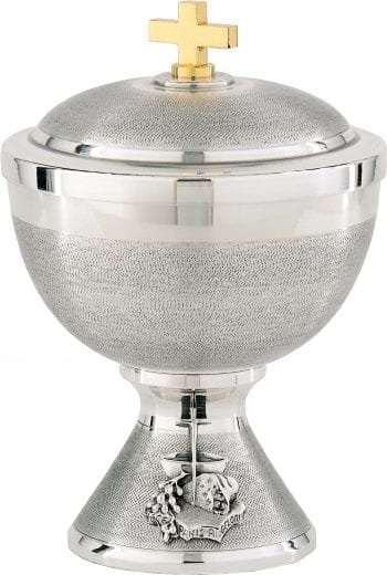 Low Simeon Maranatha-Lab in hand-turned silver brass and decorated with Eucharistic symbols