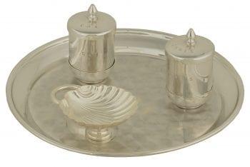 """Servizio-Battesimo """"Semplicità"""" Maranatha Lab in ottone argentato con vassoio circolare e conchiglia battesimale"""