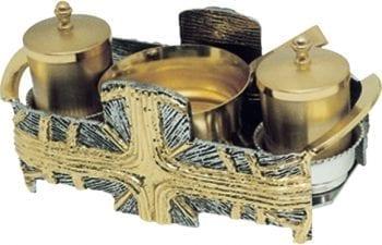 """Sevizio-Battesimo """"Celtica"""" Maranatha Lab in fusione di bronzo con vassoio bicolore decorato con motivi cruciformi"""