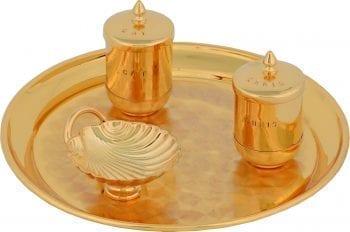 """Servizio-Battesimo """"Fiducia"""" Maranatha Lab in ottone dorato lucido con vasetti, conchiglia battesimale e vassoio ovale"""