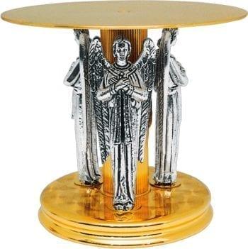 """Tronetto """"Tre-Angeli"""" Maranatha Lab in ottone bicolore, a base circolare e piedistallo costituito da statue di angeli"""