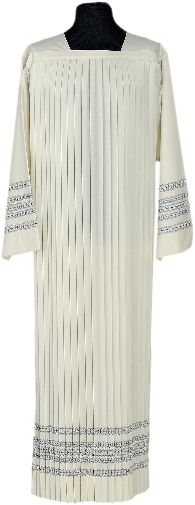 """Camice """"Acerenza-2"""" Maranatha Lab in tessuto misto lana plissettato con ricamo a cinique giri di punto gigliuccio"""