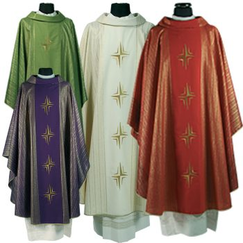 "Casula""Rio""MaranathaLab in tessuto lana lurex con ricamo diretto a motivo cruciforme e tessitura rigata."