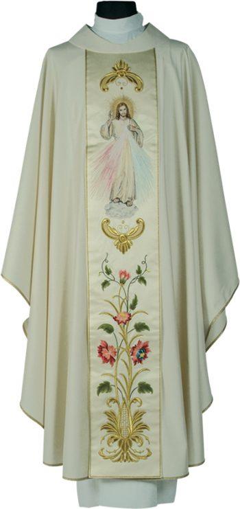"""Casula """"Misericordia"""" Maranatha Lab in tessuto fresco lana con stolone ricamato a motivi floreali ed effigie di Gesù Misericordioso"""