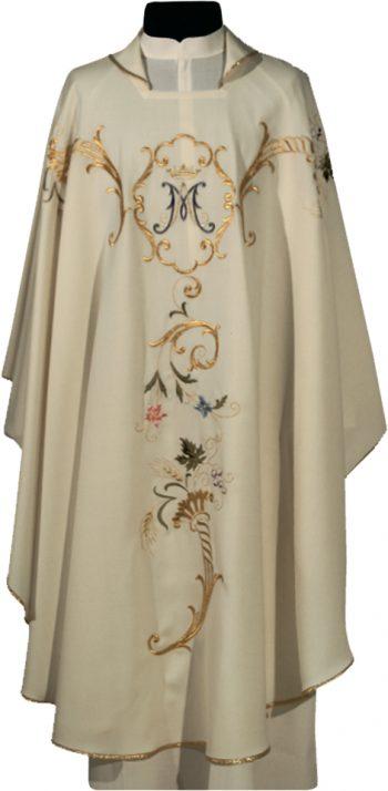 """Casula """"Arca"""" Maranatha Lab mariana in tessuto lana con ricamo diretto di motivo floreale e simbolo mariano."""