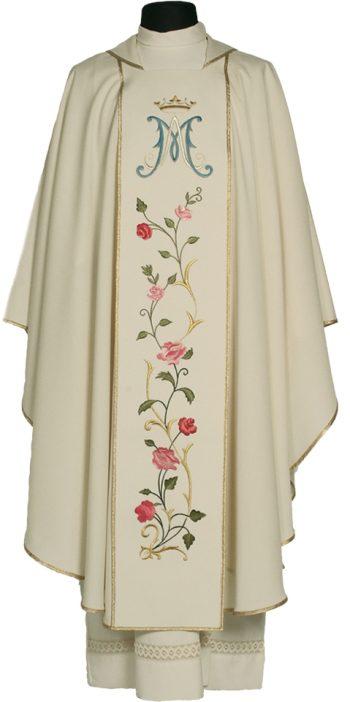 "Casula ""Shehinah"" Maranatha Lab in tessuto lana con stolone a ricamato da simbolo mariano e motivi floreali."