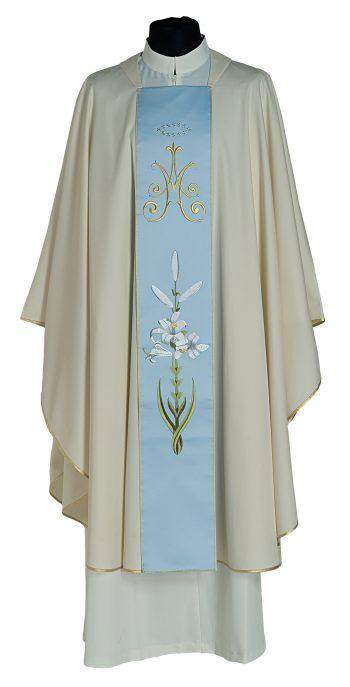 """Casula """"Sapienza"""" Maranatha Lab in tessuto frescolana, impreziosita da stolone mariano a motivi floreali nel colore celeste pastello"""