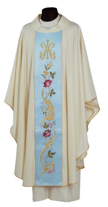 """Casula """"Rosa-Mistica"""" Maranatha Lab in tessuto lana con stolone, impreziosito da ricamo mariano e floreale."""