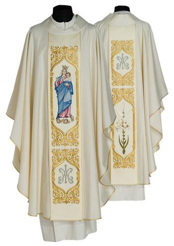 """Casula """"Madonna-Ausiliatrice"""" Maranatha Lab in fresco lana impreziosita, ambo i lati, da stolone ricamato in oro e figura della Vergine Maria"""