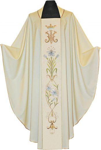 """Casula """"Giglio"""" Maranatha Lab con stolone impreziosito da ricamo mariano e motivi floreali dalle tonalità pastello e oro"""