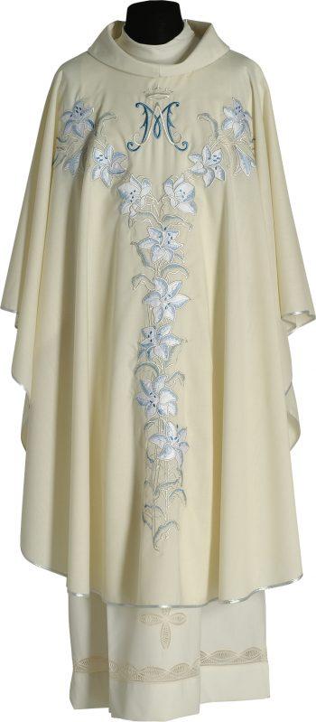 """Casula """"Elisabetta"""" Maranatha Lab in lana impreziosita con ricamo diretto mariano e motivi floreali."""