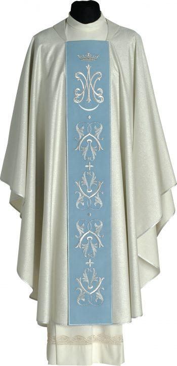 """Casula """"Immacolata"""" Maranatha Lab in tessuto lana, impreziosita da stolone azzurro con ricami mariani."""