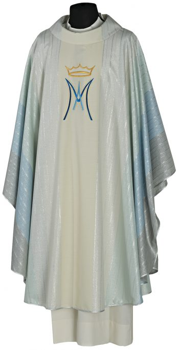 """Casula """"Salomone"""" Maranatha Lab in tessuto lana lurex impreziosita da ricamo diretto del simbolo mariano"""