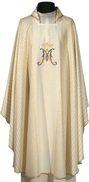 """Casula """"Maddalena"""" Maranatha Lab in lana con ricamo diretto mariano impreziosita da tessitura lineare dorata."""