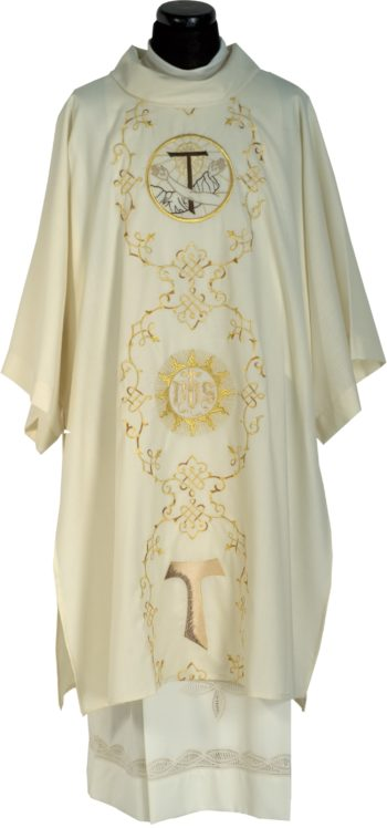 """Dalmatica """"Rivo-Torto"""" Maranatha Lab in tessuto fresco lana impreziosita con ricamo diretto francescano."""