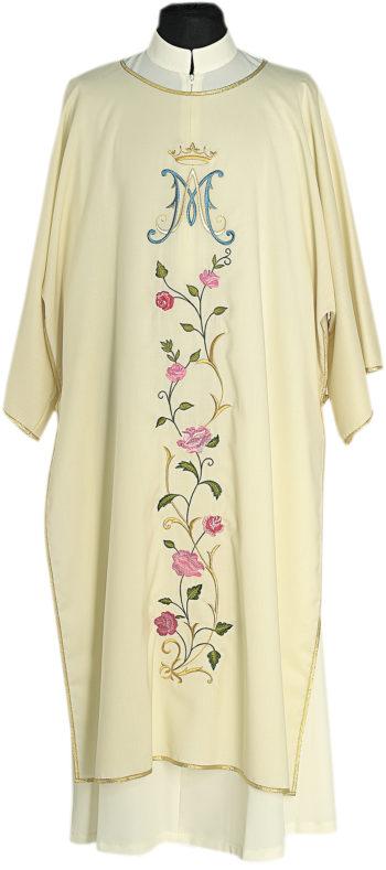 "Dalmatica ""Shehinah"" Maranatha Lab in tessuto fresco lana, ricamata con simbolo mariano e motivi floreali."