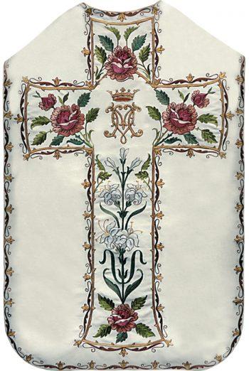 """Pianeta """"Tenerezza"""" Maranatha Lab in tessuto moella completa di stola ricamata a macchina con motivi floreali e simbolo mariano"""