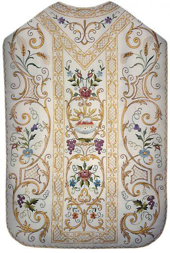 """Pianeta """"Terra-Santa"""" Maranatha Lab in tessuto moella foderato con fregi in oro completa di stola ricamata a mano a motivi floreali"""