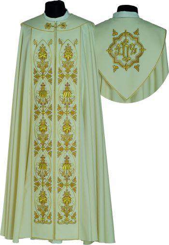 """Piviale """"Gerico"""" Maranatha Lab in tessuto lana con stolone ricamato in oro a motivi floreali e simbolo JHS."""