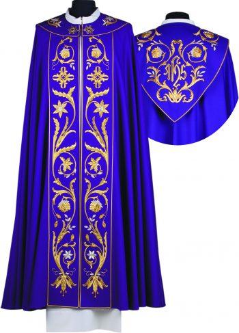 """Piviale """"Tessalonica"""" Maranatha Lab in tessuto lana con stolone ricamato a motivi floreali e simbolo JHS."""