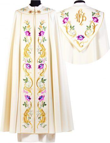 """Piviale """"Sepolcro"""" Maranatha Lab in tessuto lana con stolone ricamato in oro a motivi floreali e simbolo JHS."""
